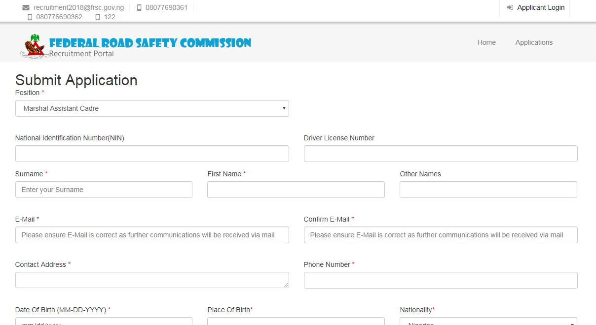 Federal Road Safety Recruitment 2018/2019 | www.frsc.gov.ng Registration Guide